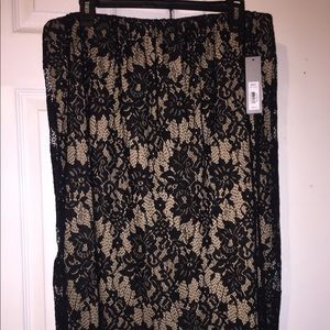 Pencil Tan Skirt with Black Lace